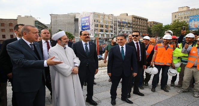 Cumhurbaşkanı Erdoğan, Ulus İtfaiye Meydanı Camii'ni inceledi