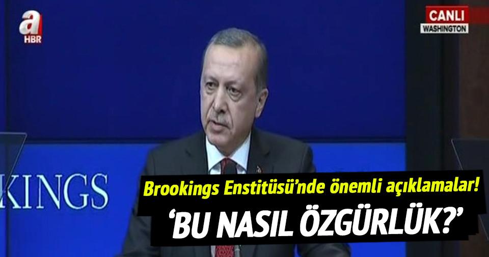 Cumhurbaşkanı Erdoğan Brookings Enstitüsü'nde konuştu