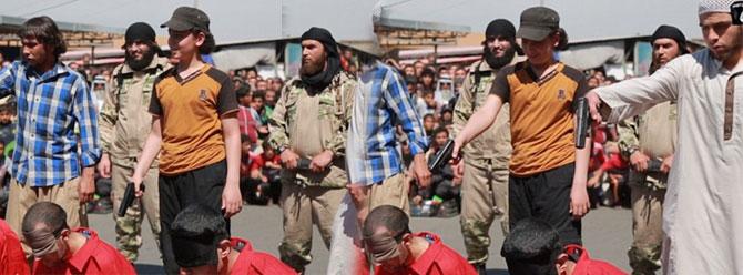 IŞİD silah verdi, çocuklar maalesef keyifle infaz etti!