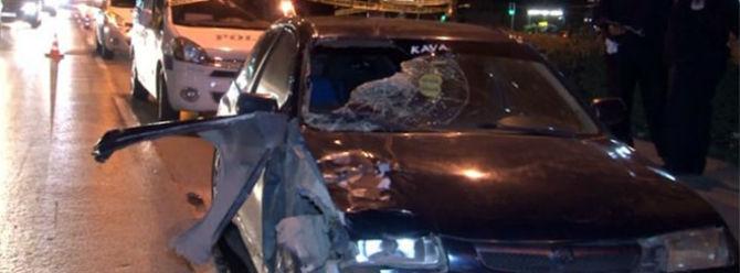 Otomobilin çarptığı adam yüz metre savruldu!