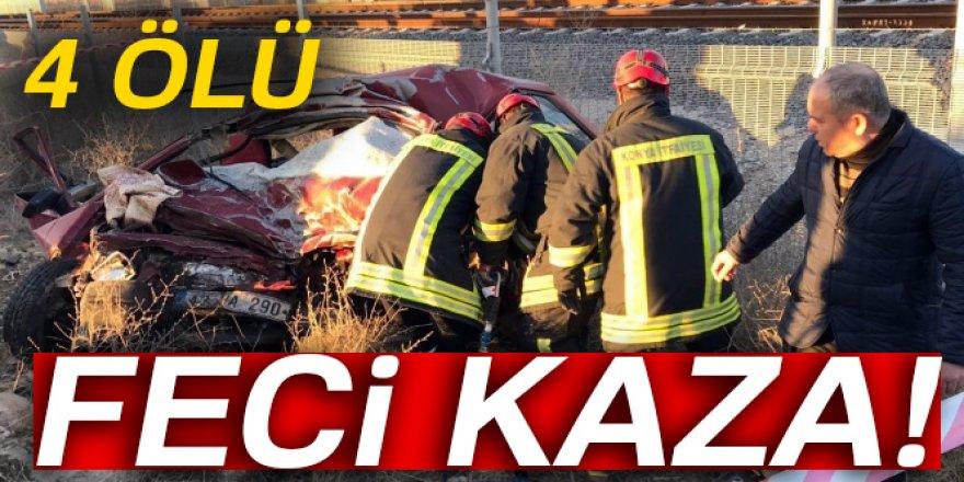 Konya'da otomobil ile pancar yüklü TIR çarpıştı