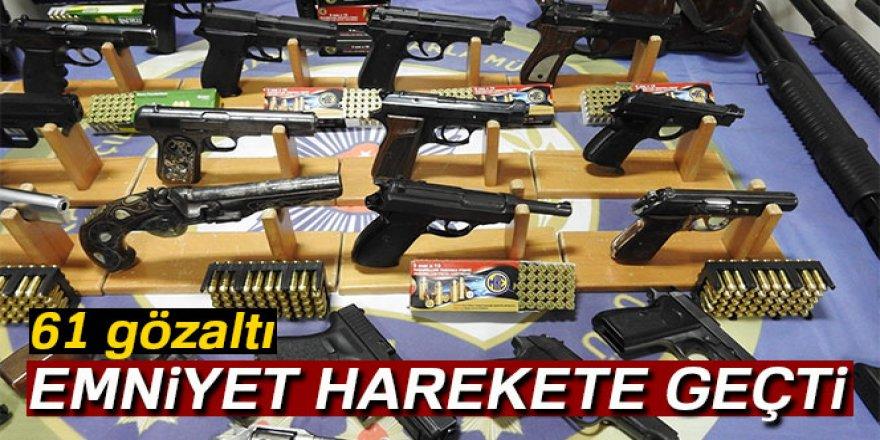 Silah kaçakçılarına büyük darbe: 61 gözaltı