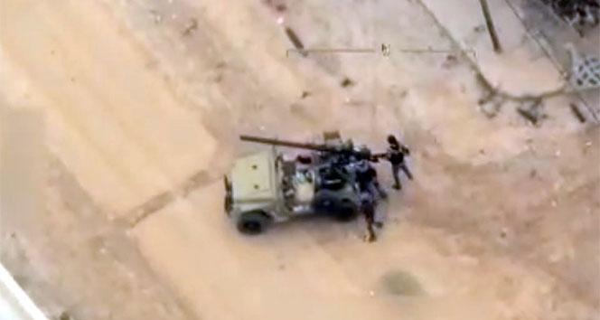 Terör örgütünün evlerin arasından Türkiye'ye saldırmalarını İHA'lar görüntüledi