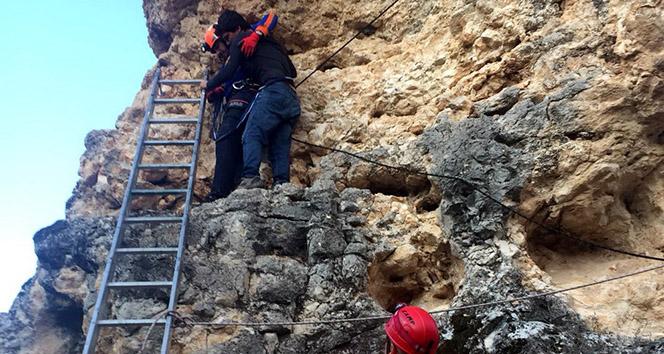 Kayalıklarda mahsur kalan genci AFAD kurtardı