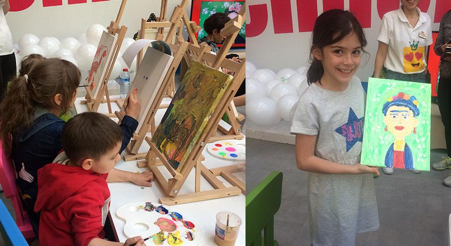 Çocuklar sanatla kucaklaştı