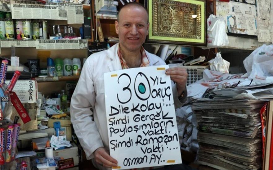 Kocaeli'de bir esnaf 30 yıldır oruç tutuyor
