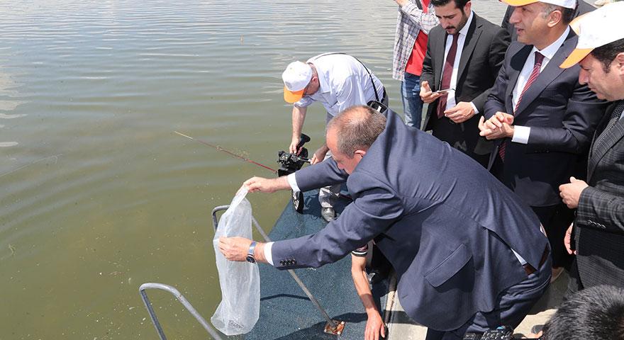 Mogan Gölü'ne 15 bin yavru balık bırakıldı