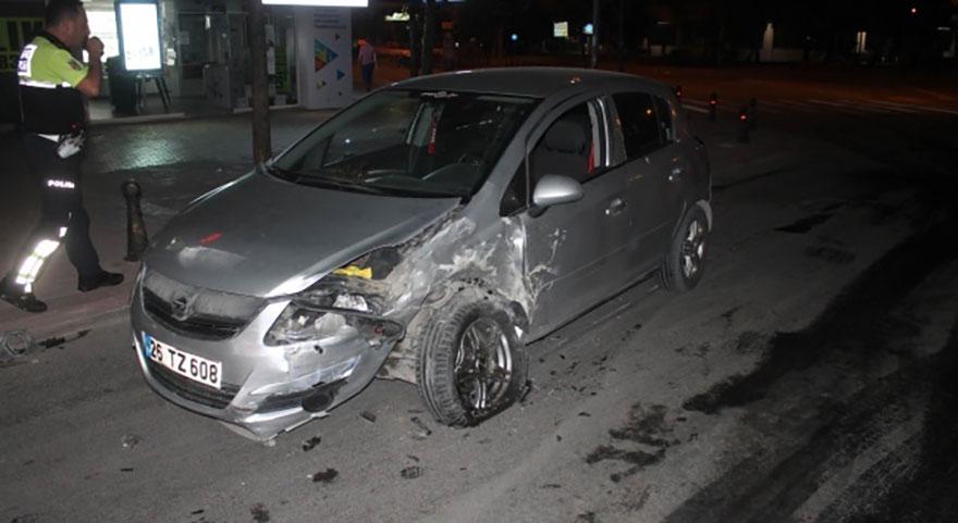 Konya'da alkollü sürücü polis aracına çarptı
