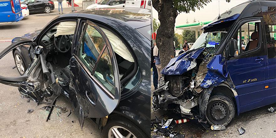 Ankara'da dolmuş ile otomobil çarpıştı: 10 yaralı