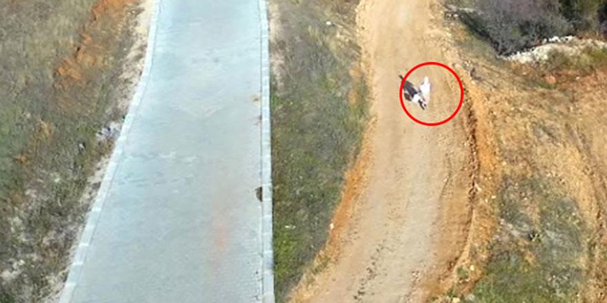 İlk kez drone gören kadının korku dolu anları