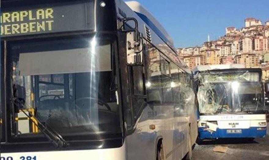 Başkent'te iki belediye otobüsü çarpıştı: 5 yaralı