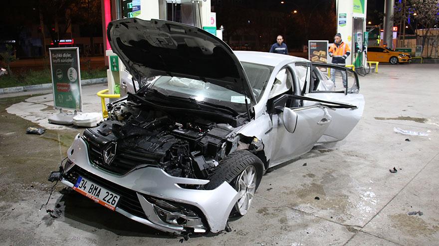 Aracıyla benzinliğe daldı