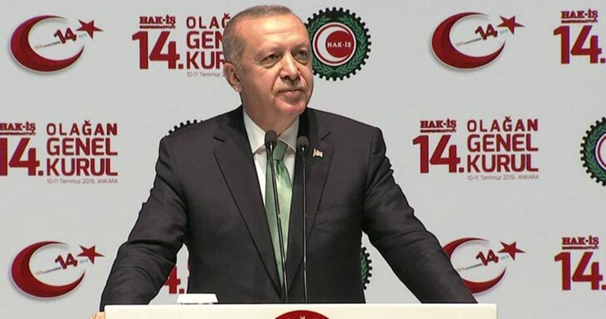 Cumhurbaşkanı Erdoğan Hak-İş Genel Kurulu'nda konuştu
