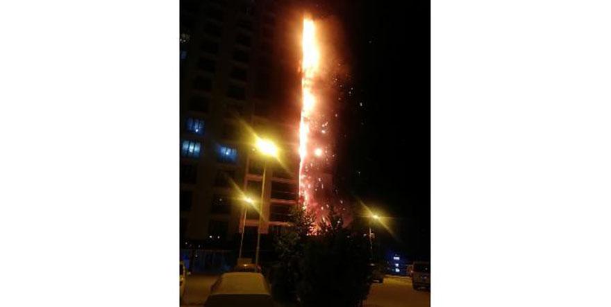 Eryaman'da 16 katlı binada korkutan yangın