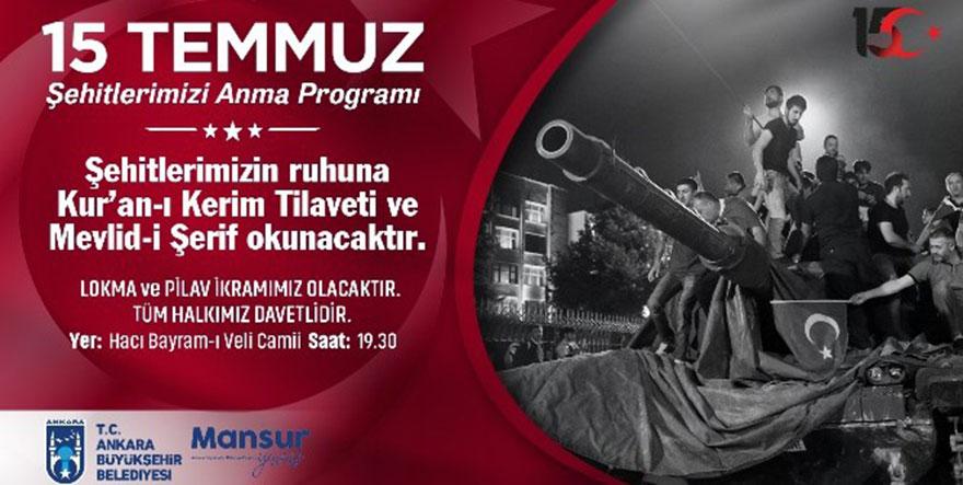 Büyükşehir'den, 15 Temmuz'da Hacı Bayram-ı Veli Camii'nde mevlit