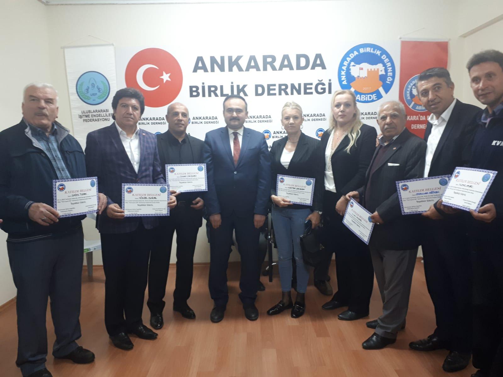 """Ankara'da  Birlik Derneği'nden """"Türk İşaret Dili Semineri"""""""