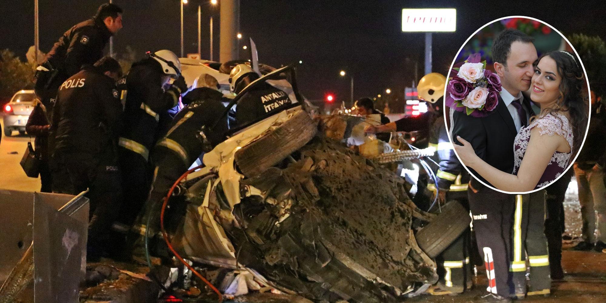 Kepez'de yeni evli çifti trafik kazası ayırdı