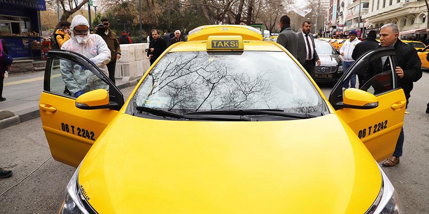 Başkent'te taksiler dezenfekte ediliyor