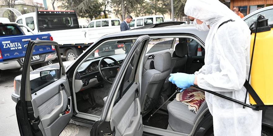Mamak'ta günde 1700 araç dezenfekte ediliyor