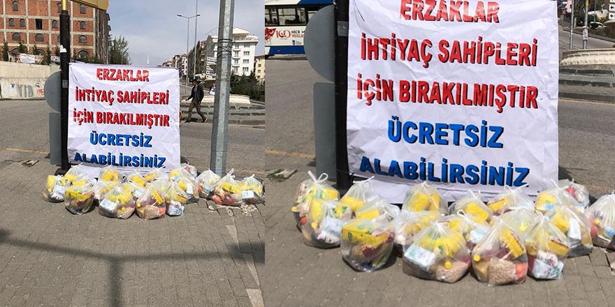 Ankara'da bir hayırsever ihtiyaç sahipleri için 9 noktaya 500 adet yardım paketi bıraktı.