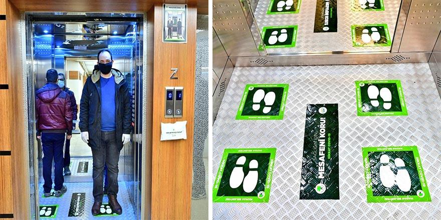 Asansörlerde sosyal mesafe düzeni