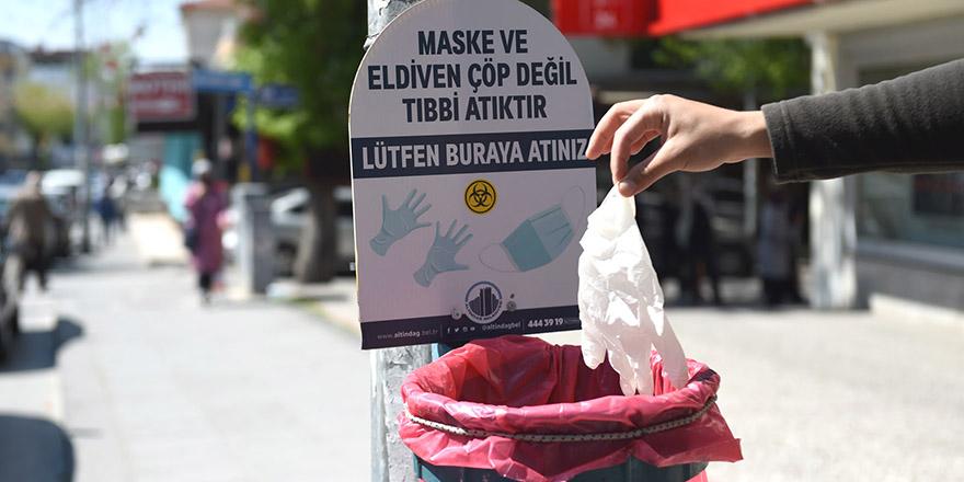 Maske atıklarına özel çöp sepeti