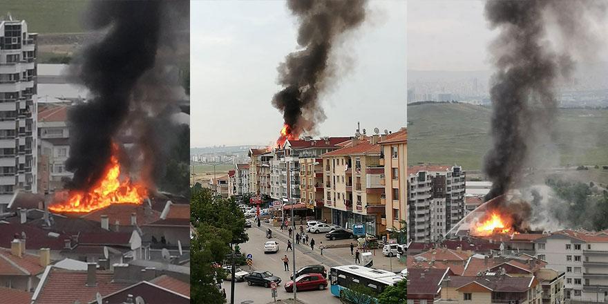 Başkent'te korkutan çatı yangını