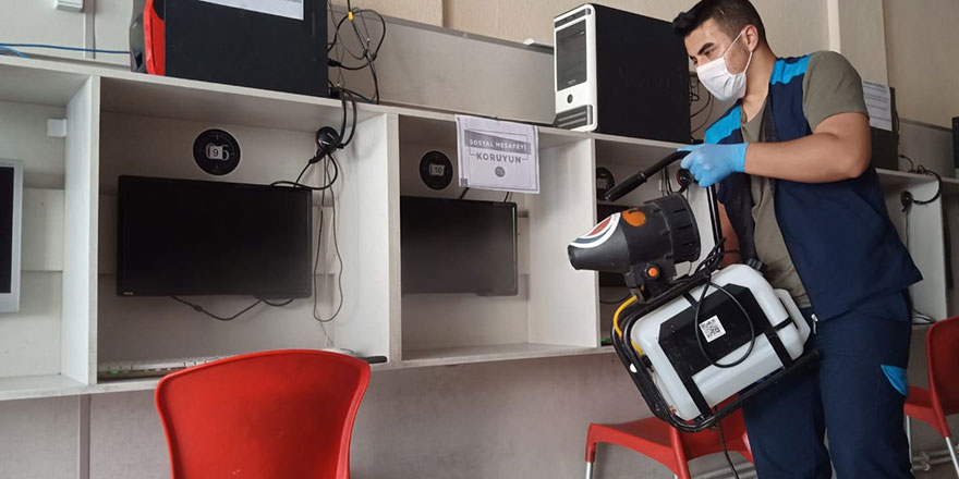 Sincan'da internet ve oyun salonları dezenfekte ediliyor