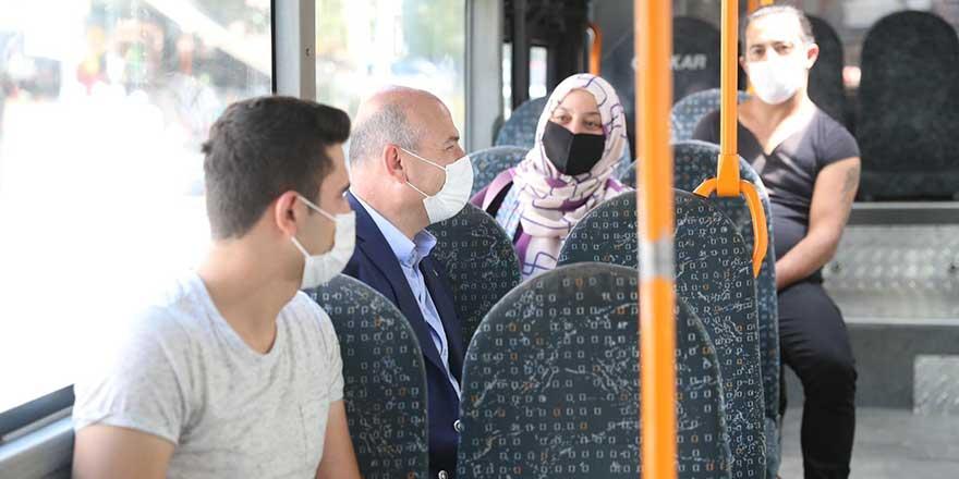 Soylu halk otobüsüne binerek vatandaşları uyardı