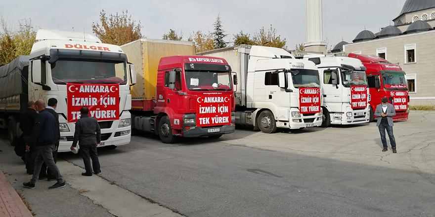 Başkentte yardım tırları İzmir için yola çıktı