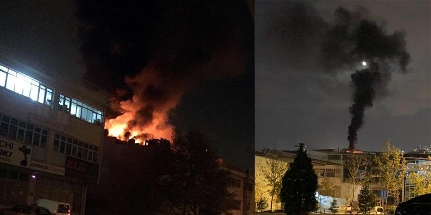 Yenimahalle'de oto aksesuar dükkanının çatısı yandı