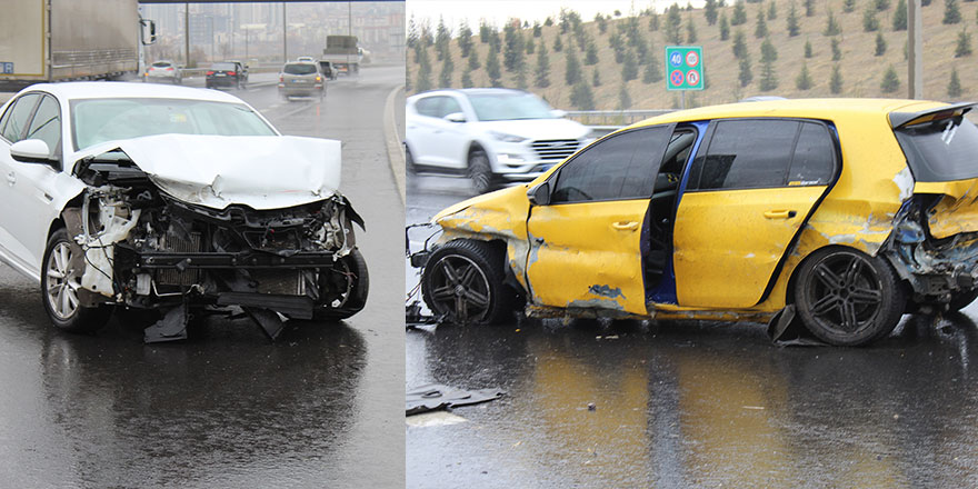 Yağışlı hava kaza üstüne kaza getirdi