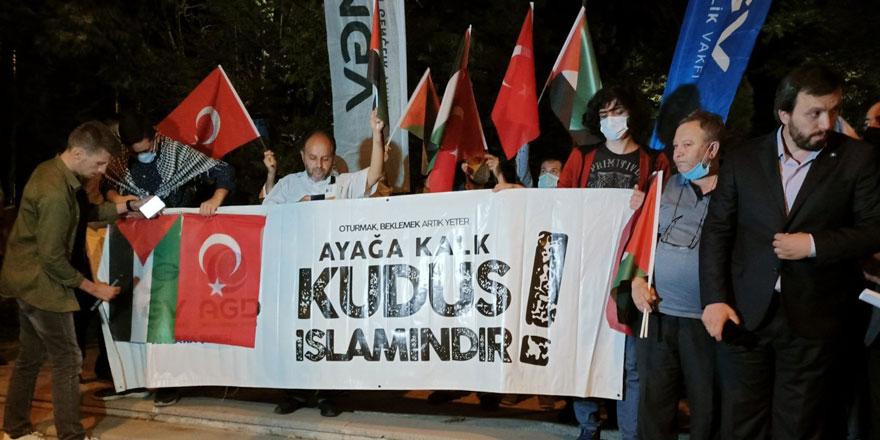 STK'lardan İsrail Büyükelçiliği önünde protesto