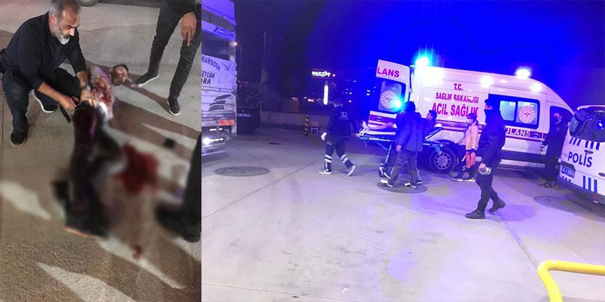Benzin istasyonunda bıçaklı saldırı