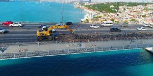 15 Temmuz Şehitler Köprüsü'ndeki çalışmalar havadan görüntülendi