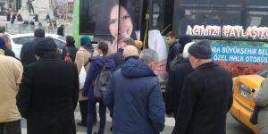 Belediye otobüsleri yaya geçişini engelliyor