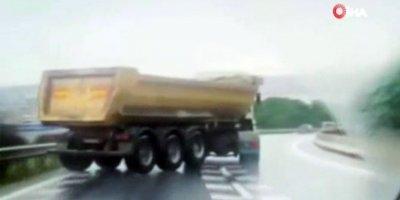 Drift yapan hafriyat kamyonu dehşet saçtı