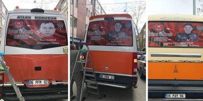 Şehit Polislerin fotoğrafları minibüslerde