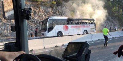 Muğla'da otobüs yangını