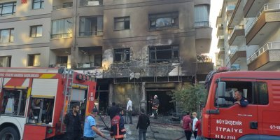 Başkent'te çıkan yangında bina kullanılamaz hale geldi