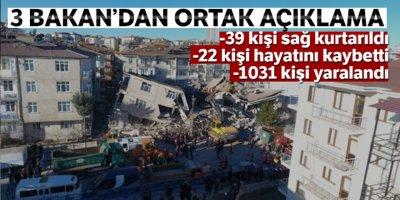 3 Bakan'dan ortak deprem açıklaması