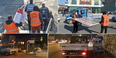 Ankara'da izinsiz asılan afişler, tabelalar toplanıyor