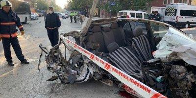 Otobüse çarpan araç sürücüsü ağır yaralandı