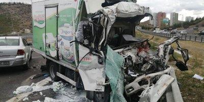 Ankara'da üç kamyon birbirine girdi: 1 ölü, 2 yaralı
