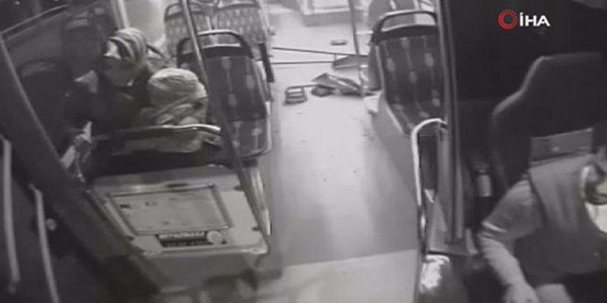 Sultanbeyli'de otobüs kazasında faciadan dönülen anlar kamerada