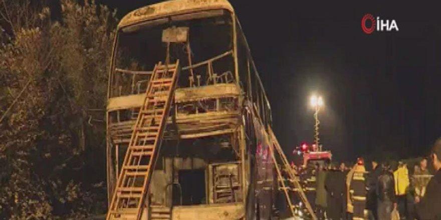 Çin'de tur otobüsü yandı: 26 ölü, 30 yaralı