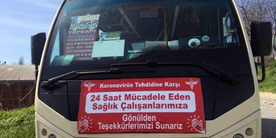 Minibüs şoföründen 'korona' ile mücadelede örnek davranış