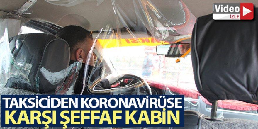 Taksiciden korona virüsüne karşı şeffaf kabin