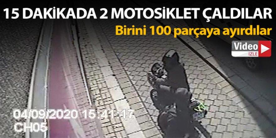 15 dakikada 2 motosiklet çalan hırsızlar yakalandı