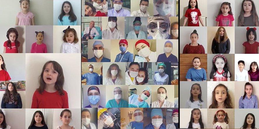 Sağlık çalışanlarının çocuklarından 23 Nisan özel klibi